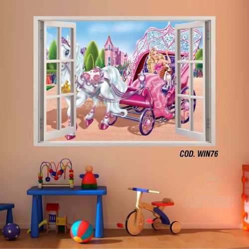 Adesivo Parede Janela 3D Barbie Princesa #05