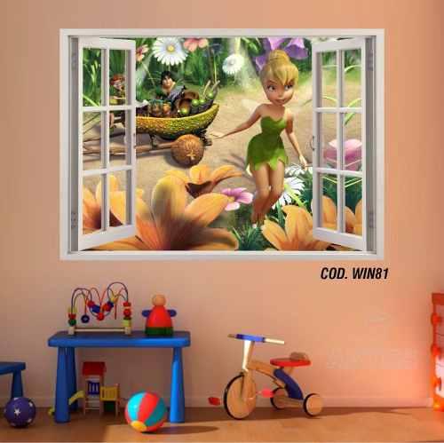 Adesivo Parede Janela 3D Fada Tinker Bell mod04