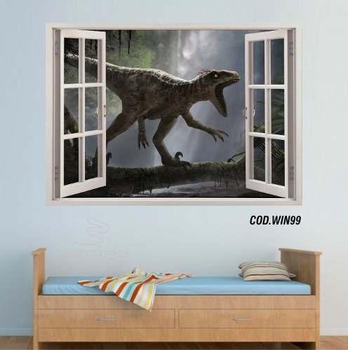 Adesivo Parede Janela 3D Dinossauro Jurassic Park mod05