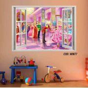 Adesivo Parede Janela 3D Barbie Princesa mod04