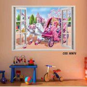 Adesivo Parede Janela 3D Barbie Princesa mod05