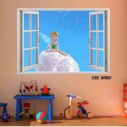 Adesivo Parede Janela 3D Fada Tinker Bell mod05