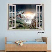 Adesivo Parede Janela 3D Dinossauro Jurassic Park #01