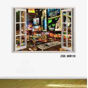 Adesivo Parede Janela 3D Cidade Nova York Ny #01