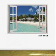 Adesivo Parede Janela 3D Praia Paraíso mod01