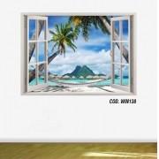 Adesivo Parede Janela 3D Praia Paraíso mod02