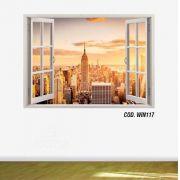 Adesivo Parede Janela 3D Cidade Nova York Ny mod03