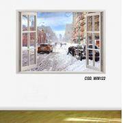 Adesivo Parede Janela 3D Cidade Nova York Ny #04