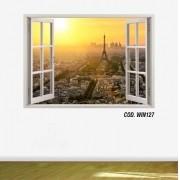 Adesivo Parede Janela 3D Cidade Paris mod04