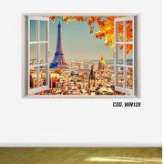 Adesivo Parede Janela 3D Cidade Paris mod05
