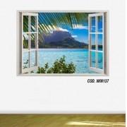 Adesivo Parede Janela 3D Praia Paraíso mod05