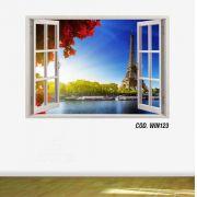 Adesivo Parede Janela 3D Cidade Paris #06