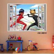 Adesivo Parede Janela 3D Miraculous Ladybug mod06