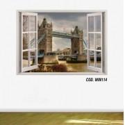Adesivo Parede Janela 3D Cidade Londres mod06