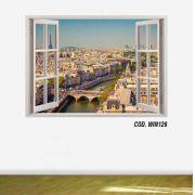 Adesivo Parede Janela 3D Cidade Paris mod07