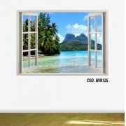 Adesivo Parede Janela 3D Praia Paraíso mod07