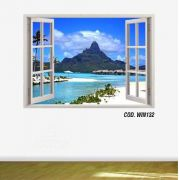 Adesivo Parede Janela 3D Praia Paraíso mod08