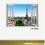 Adesivo Parede Janela 3D Cidade Paris #08