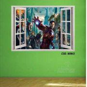 Adesivo Parede Janela 3D Vingadores Avengers #01