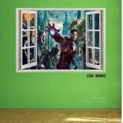 Adesivo Parede Janela 3D Vingadores Avengers mod01