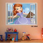 Adesivo Parede Janela 3D Princesinha Sofia #01