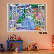 Adesivo Parede Janela 3D Princesas Cinderela