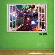 Adesivo Parede Janela 3D Vingadores Iron Man