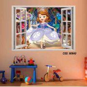 Adesivo Parede Janela 3D Princesinha Sofia mod02