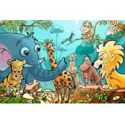 Painel Lona Safari Zoo Animais mod01