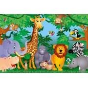 Painel Lona Safari Zoo Animais mod03