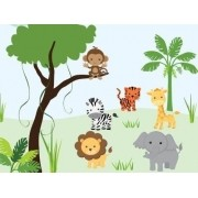 Painel Lona Safari Zoo Animais mod04