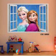 Adesivo Parede Janela 3D Frozen Ana Elsa mod02