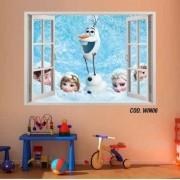 Adesivo Parede Janela 3D Frozen Ana Elsa mod03