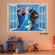 Adesivo Parede Janela 3D Frozen Ana Elsa mod04