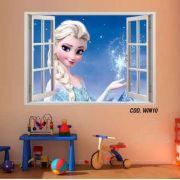 Adesivo Parede Janela 3D Frozen Ana Elsa mod05