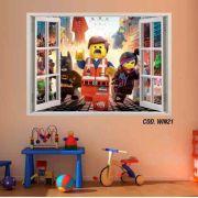 Adesivo Parede Janela 3D Uma Aventura Lego mod01