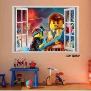 Adesivo Parede Janela 3D Uma Aventura Lego mod02
