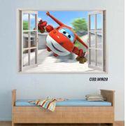 Adesivo Parede Janela 3D Super Wings mod03