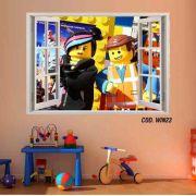 Adesivo Parede Janela 3D Uma Aventura Lego mod05