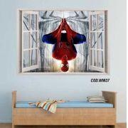 Adesivo Parede Janela 3D Homem Aranha #01