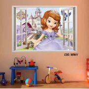 Adesivo Parede Janela 3D Princesinha Sofia mod03