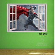 Adesivo Parede Janela 3D Vingadores Thor