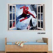 Adesivo Parede Janela 3D Homem Aranha #05