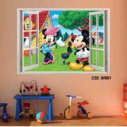 Adesivo Parede Janela 3D Mickey Minie mod02