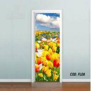 Adesivo De Porta Flores Tulipas Orquídeas mod08