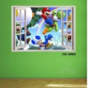 Adesivo Parede Janela 3D Super Mario Bross mod02