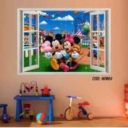 Adesivo Parede Janela 3D Mickey Minie mod03