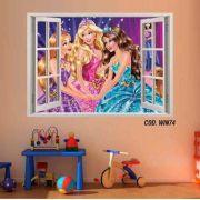 Adesivo Parede Janela 3D Barbie Princesa #02