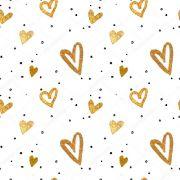 Papel De Parede Adesivo Decoração Coração Dourado