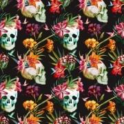 Papel De Parede Adesivo Floral Caveira